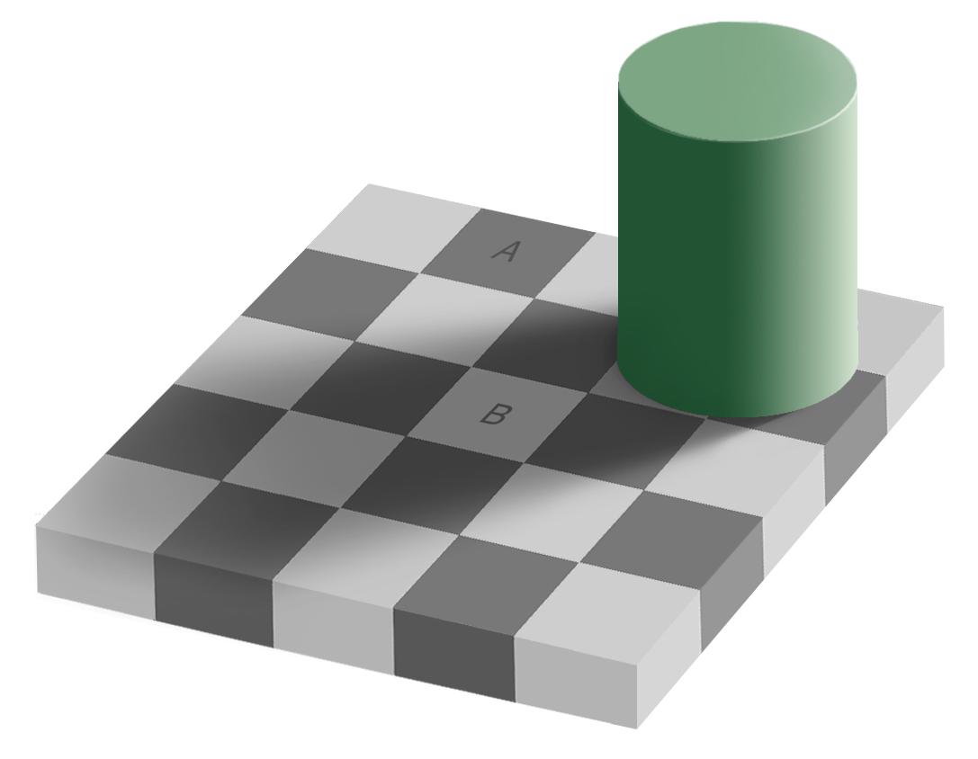 Клетки А и B окрашены в один и тот же цвет. Не верите — вырежьте и проверьте.