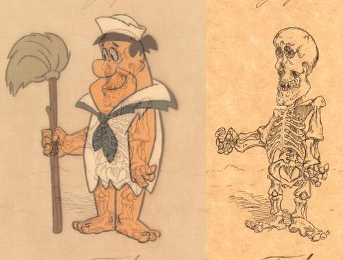 Скелеты мультяшек, 6 рентгеновских снимков.