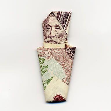 Оригами из денег. Автор жжот!